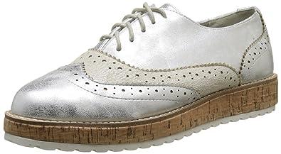 The Divine Factory Carmina, Zapatos de Cordones Oxford para Mujer, Plateado (Argent), 40 EU