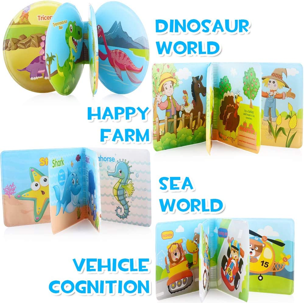 ReechTree 4 Pack Bath Books for Baby 6 to 12 Months and Toddler 1 2 3 Year Old Waterproof Bath Book with BB Whistle Vehicle Themes Farm Infant Bath Toy Set in Dinosaur Ocean
