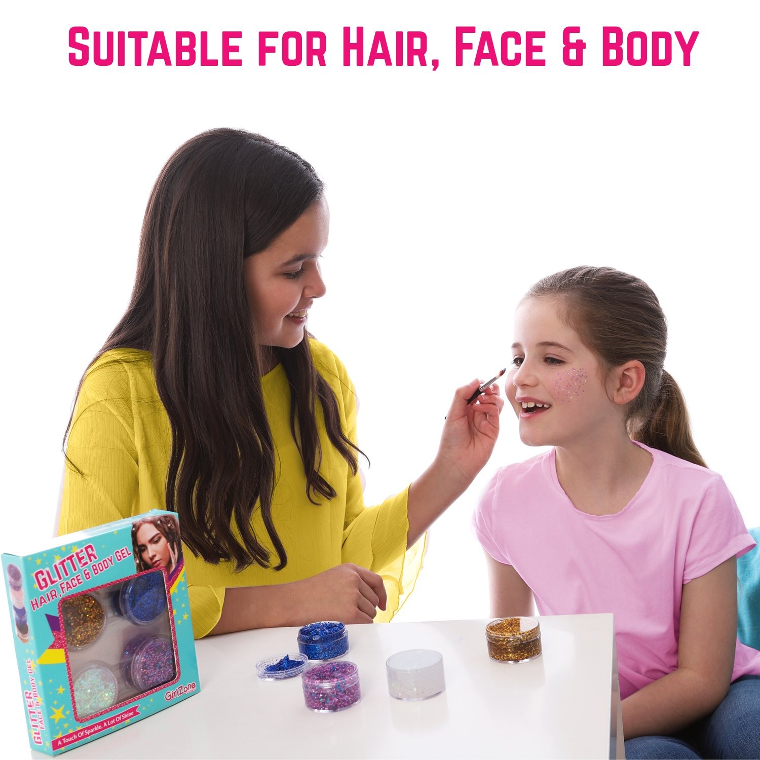 GirlZone GIFTS FOR GIRLS: Face, Hair & Body Cosmetic Glitter Makeup. Great Gift, Birthday Present Idea For Girls 4 5 6 7 8 9 10 years old plus. by GirlZone (Image #2)