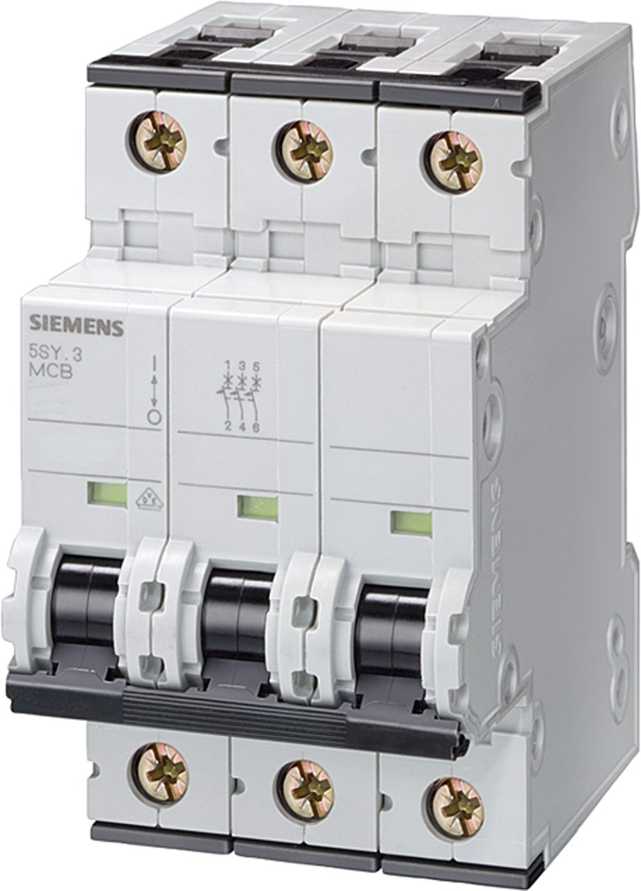 Siemens 5SY63507 Supplementary Protector, UL 1077 Rated, 3 Pole Breaker, 50 Ampere Maximum, Tripping Characteristic C, DIN Rail Mounted