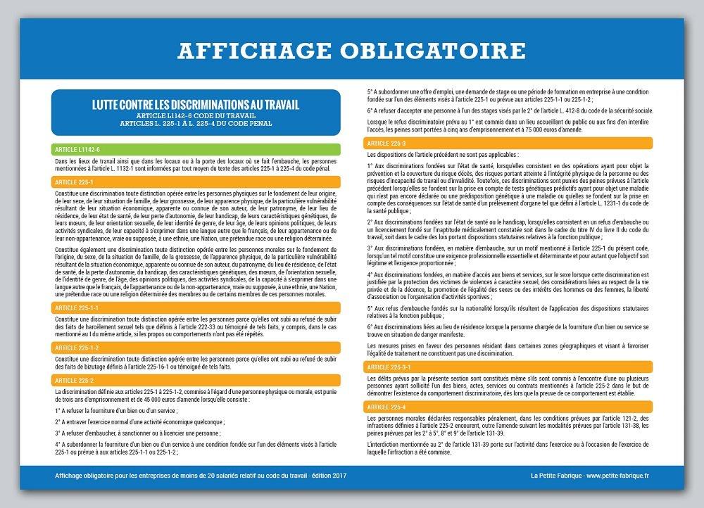 Affichage Obligatoire Code Du Travail Plastifie Et Effacable Edition 2019