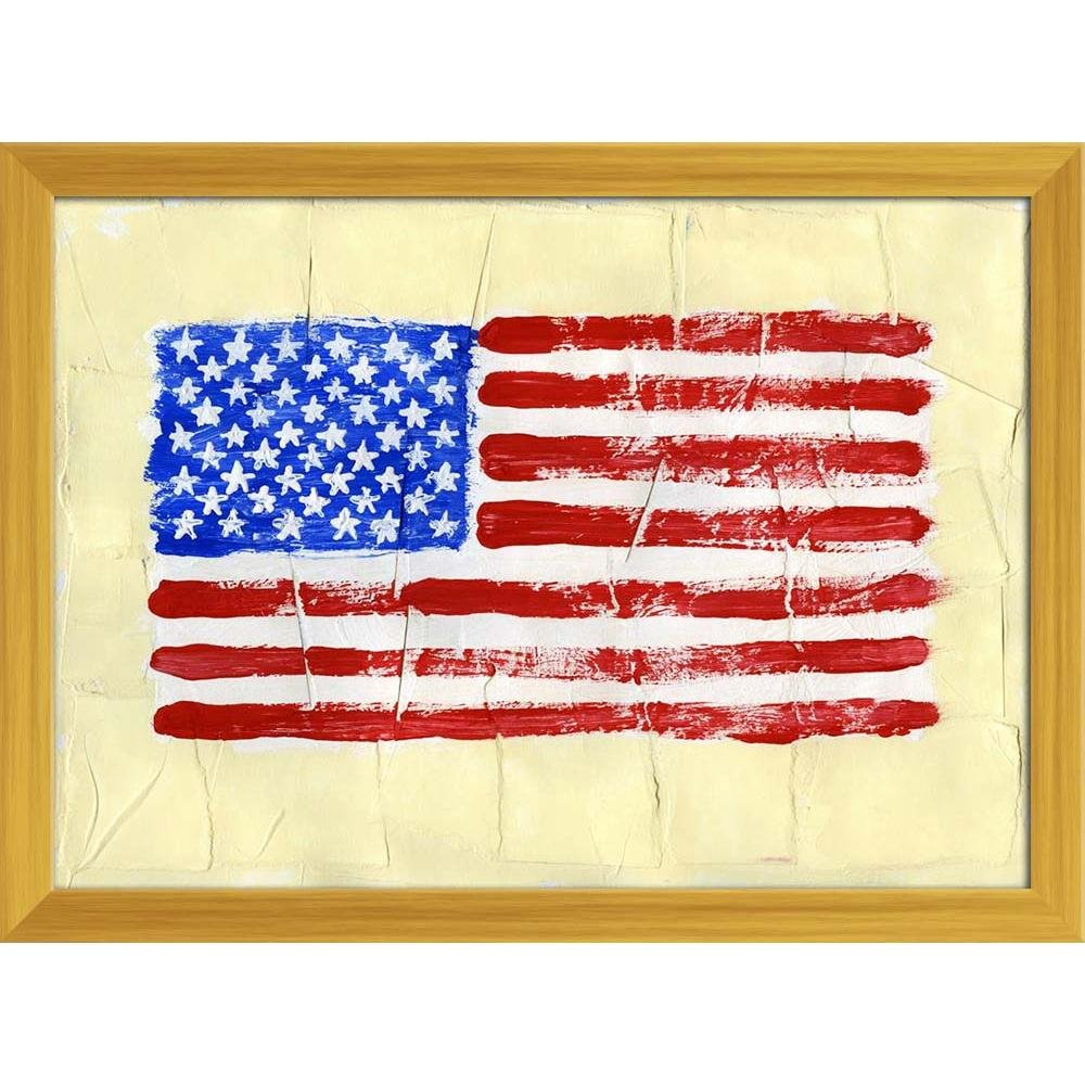 ArtzFolio United States of America Flag Canvas Painting Golden Wood Frame 16.1 x 12inch