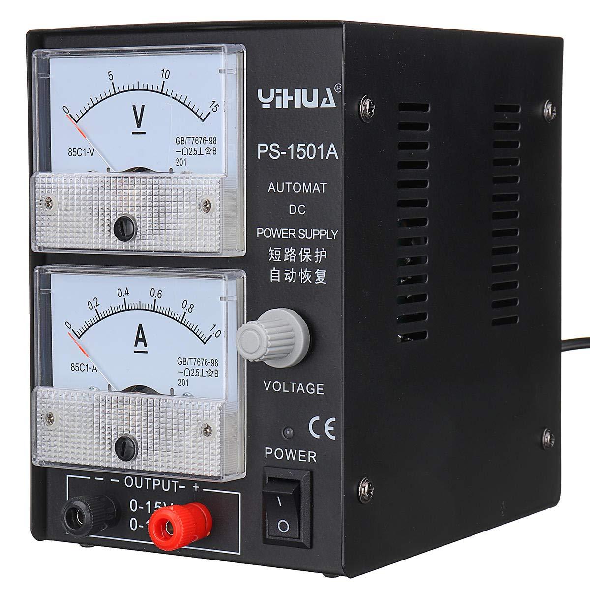 New 1501A 15V 1A Adjustable DC Power Supply Mobile Phone Repair Power Test Reg (110V US Plug)
