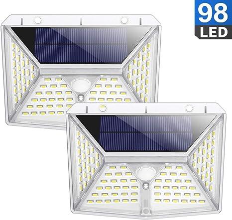Luz Solar Exterior, QTshine Foco Solar con Sensor de Movimiento y 270º Iluminacion de Multifuncional, Lámpara Solar Impermeable con 3 Modos para Jardín, Garaje, Entrada [2 Piezas]: Amazon.es: Iluminación