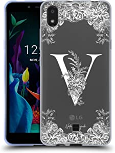 Head Case Designs Officially Licensed Nature Magick Letter V White Floral Monogram 2 Soft Gel Case Compatible with LG K20 (2019)