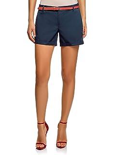 oodji Ultra Mujer Pantalón Corto de Algodón con Cinturón: Amazon.es: Ropa y accesorios