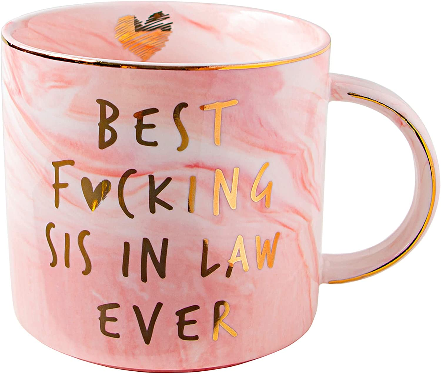 Vilight Best Sister in Law Ever Funny Gifts Mug - Pink Marble Ceramic Coffee Cup 11.5 Oz