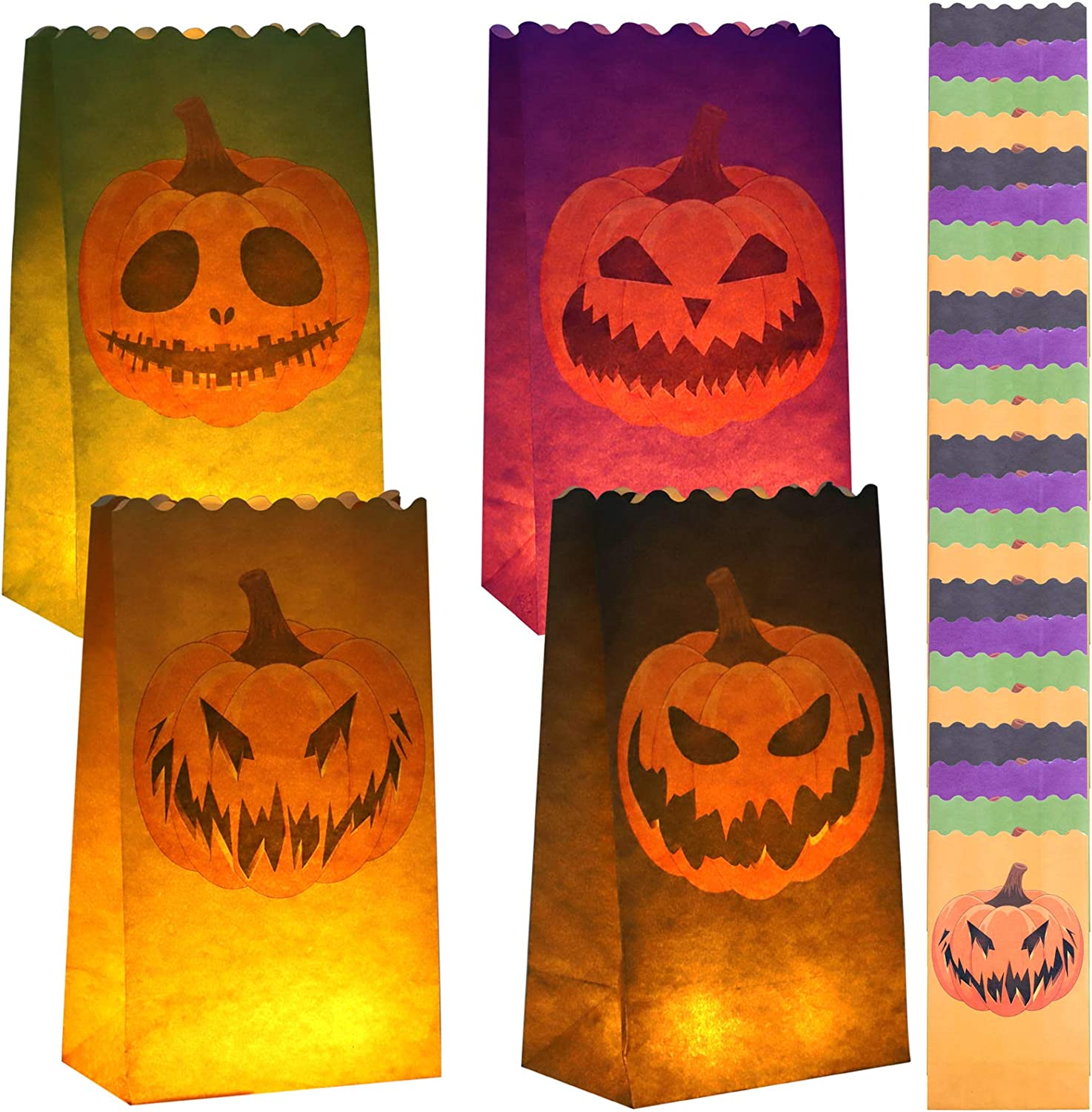 URATOT 24 Pieces Halloween Pumpkin Luminary Bags Jack-o'-Lantern Paper Luminary Bags Paper Lantern Bags Flame Resistant Candle Bags with 4 Pumpkin Silhouettes for Home, Halloween, Party