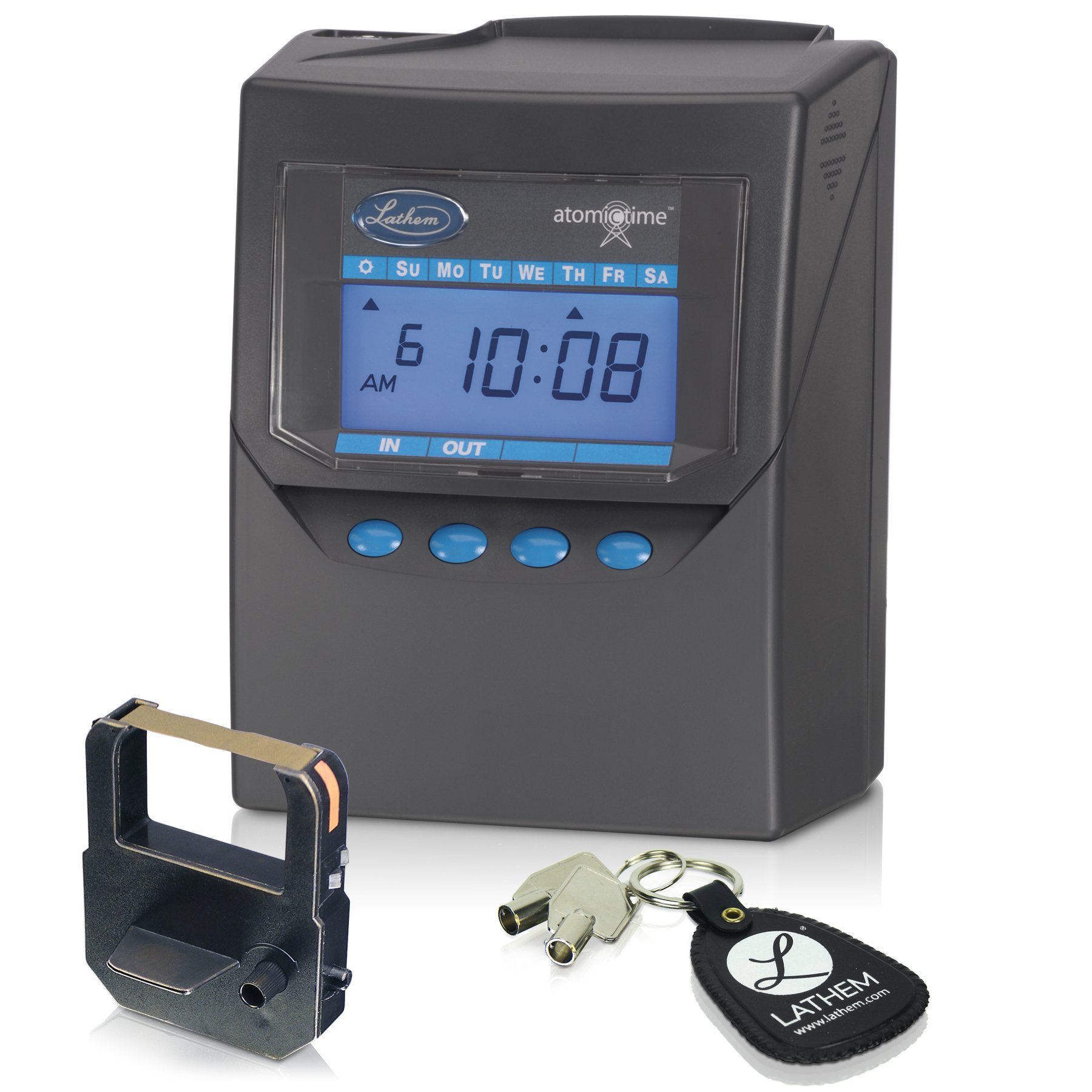 Lathem Calculating Atomic Time Clock, For 100 Employees, Includes Mounting Clip, Gray (7500E) by Lathem