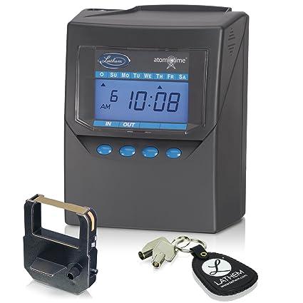 amazon com lathem calculating atomic time clock includes mounting