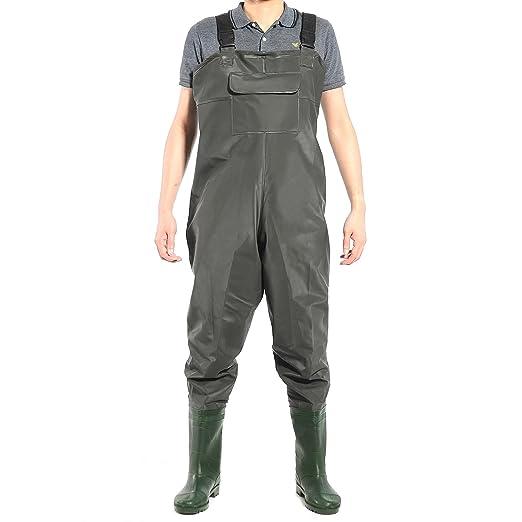 CLE DE TOUS - PVC Bota Transpirable Pecho Vadeadores de Pesca Pantalones de Pesca Talla 42 43 44 Impermeable