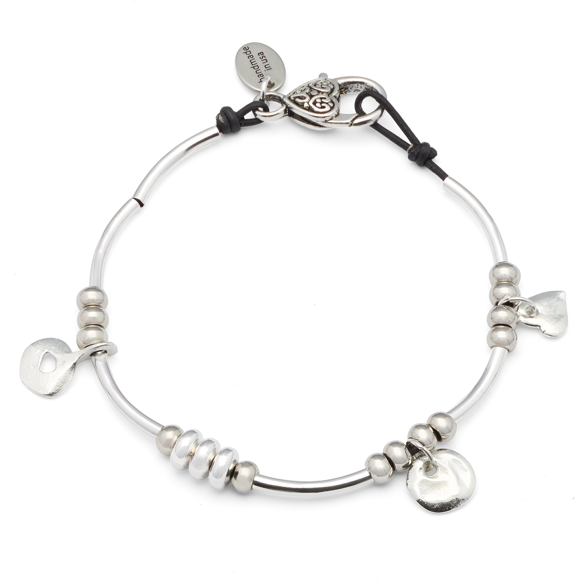 Lizzy James Gigi Anklet in Natural Black Leather and Silver Plate Crescents and Charms (10 INCH)
