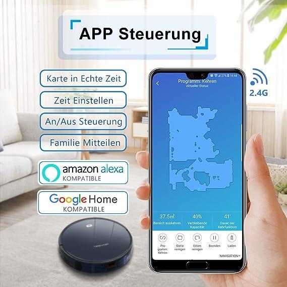 Tesvor Aspiradora robot, WiFi, Robot de aspiración con mapa espacial en tiempo real, Potente Robot aspiradora, optimizado para pelo de animal y alérgenos, ...