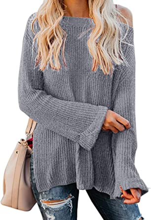 Womens Cold Shoulder Knitted Pullover Jumper Sweater Long Sleeve Knitwear Tops