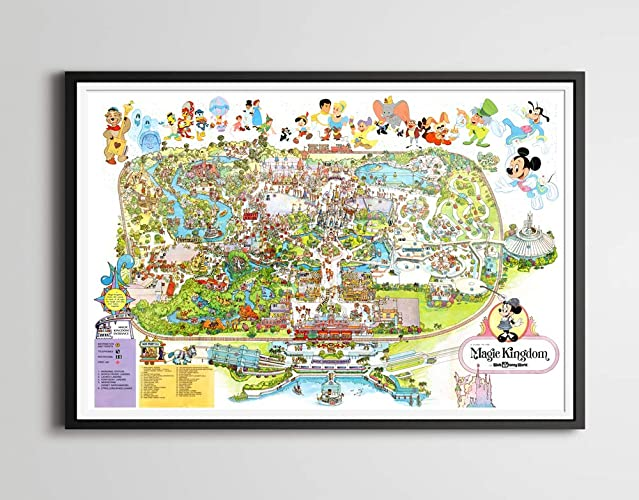 Amazon.com: Vintage 1979 DISNEY WORLD Park Map Poster! (24 x 36 or ...
