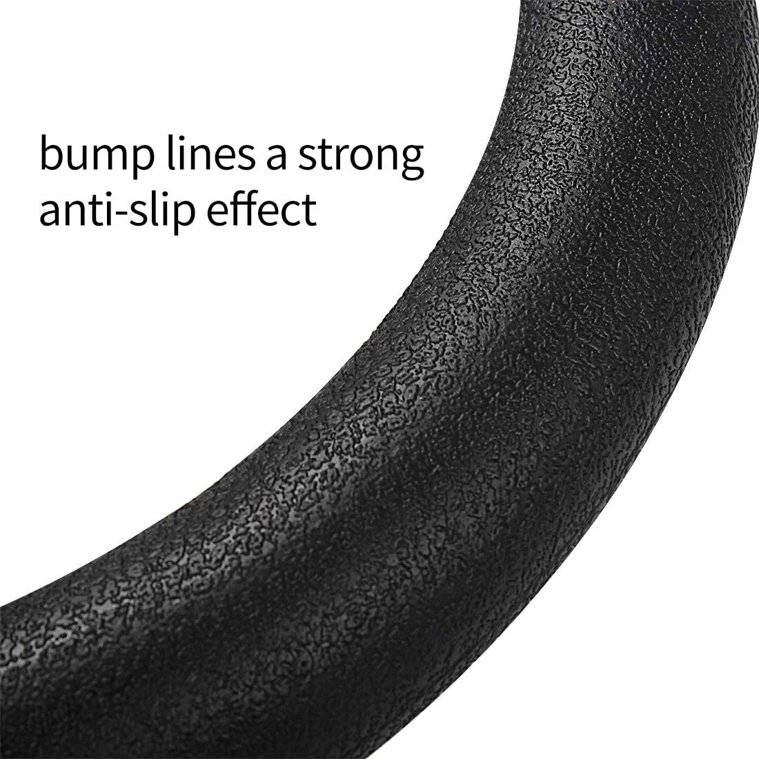 Black Non-slip Silicone Cover for Most 14-15 inch Steering Wheels Kuke Steering Wheel Cover
