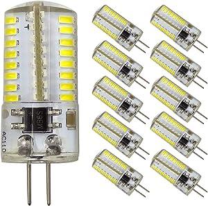 Dimmable LED G4 Bi-Pin Base Bulbs, AC 110V,3W(Equivalent to 20W 30W T3 Halogen Track Bulb), Daylight White 6000K, Home Lighting,Landscape Light,Ceiling Lights,10-Pack
