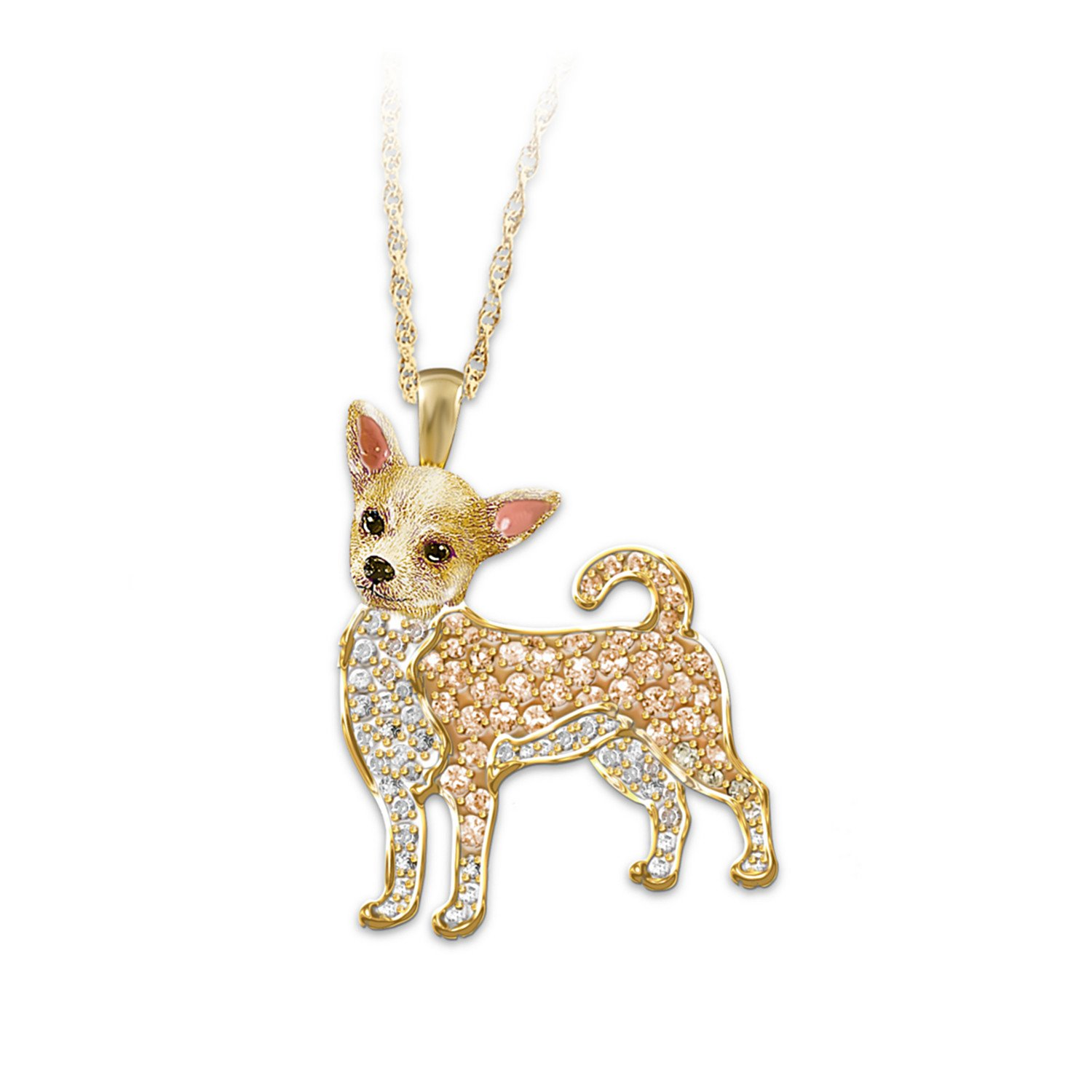 ''Best In Show'' Dog Pendant Necklace With Swarovski Crystals: Chihuahua by The Bradford Exchange
