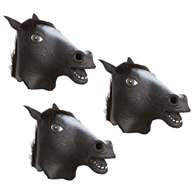 capital costumes halloween party costume latex horse mask by black set of 3