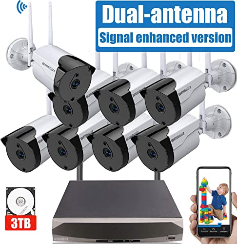 Outdoor Security Camera System Wireless, 8PCs 2.0MP Wireless Home Outdoor Business Surveillance Systems, IP WiFi Security Camera System with Night Vision, 3TB Hard Drive, APP Remote View
