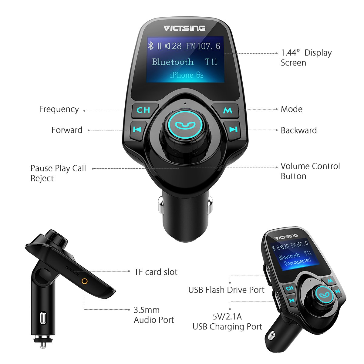 VicTsing Bluetooth FM Transmitter Radio Car Kit Adapter With 1.44 Inch Display 5V 2.1A USB Car Charger Support Micro SD Card and USB Flash Drive-Black by VicTsing (Image #3)
