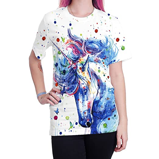 mwbay Unisex 3D Unicorn Printed Crewneck Short Sleeve T-Shirt Loose ... 1662dcce43