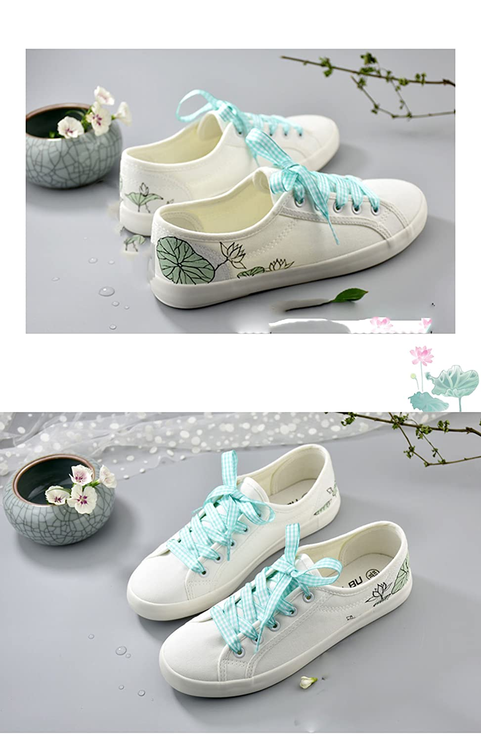 Amazon.com | Comfortable White Sneakers Summer GirlFlat Casual Shoes Hand-Painted Doodle | Shoes