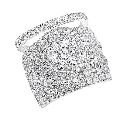 Amazon Com 14k Gold Large 5 Carat Diamond Engagement Ring And