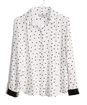 e4c440a93 Ann Taylor LOFT Women's - Mistletoe Floral Print Velvet Cuffed Blouse  (Small)