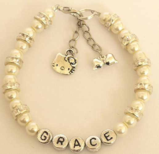 1e26064d9 GIRLS AGE RANGE 6-12 MONTHS OLD BABIES 1.50CM SIZE PERSONALISED WHITE PEARL HELLO  KITTY CHARM FRIENDSHIP BRACELET FLOWER GIRL GIFT WITH FREE GIFT PACKING ...