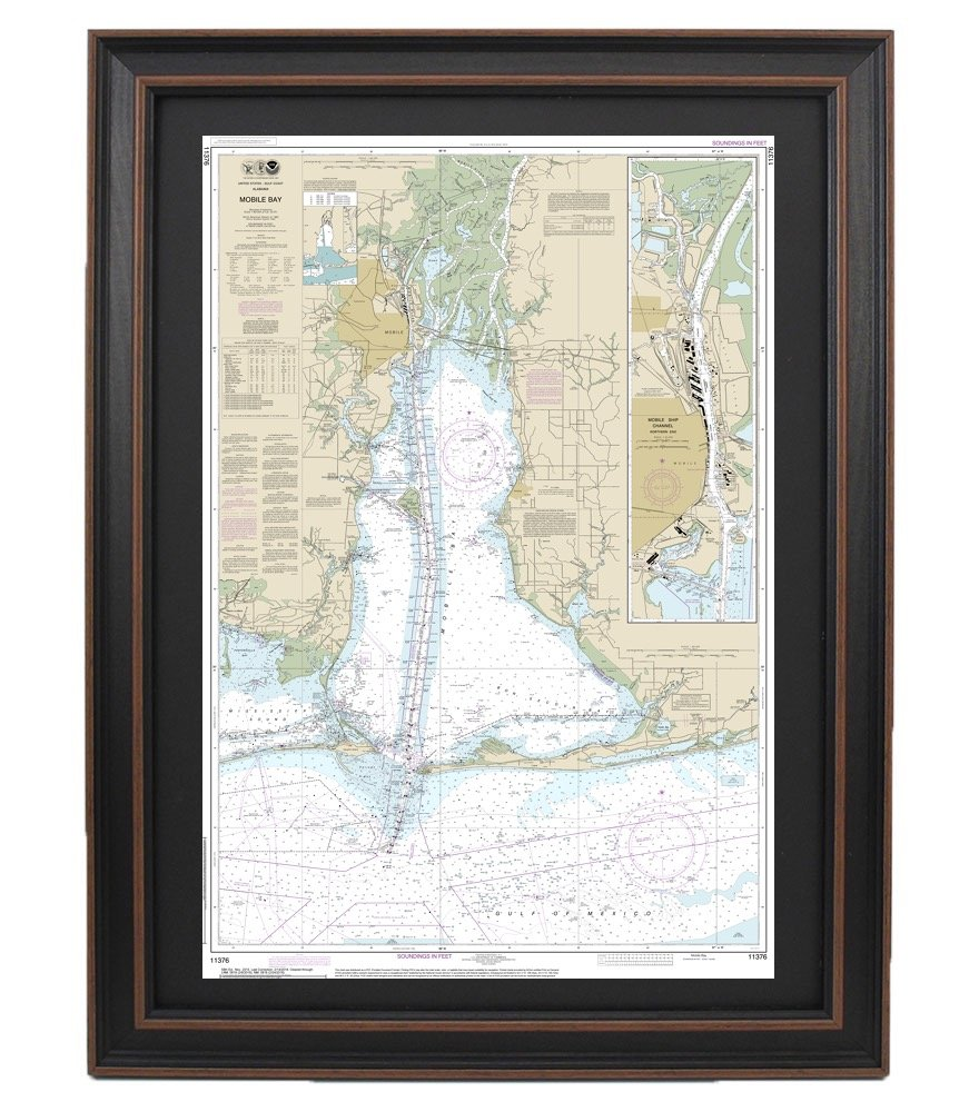 SMALL FORMAT WATERPROOF Paradise Cay Publications NOAA Chart 11376 Mobile Bay Mobile Ship Channel-Northern End 21.00 x 30.15
