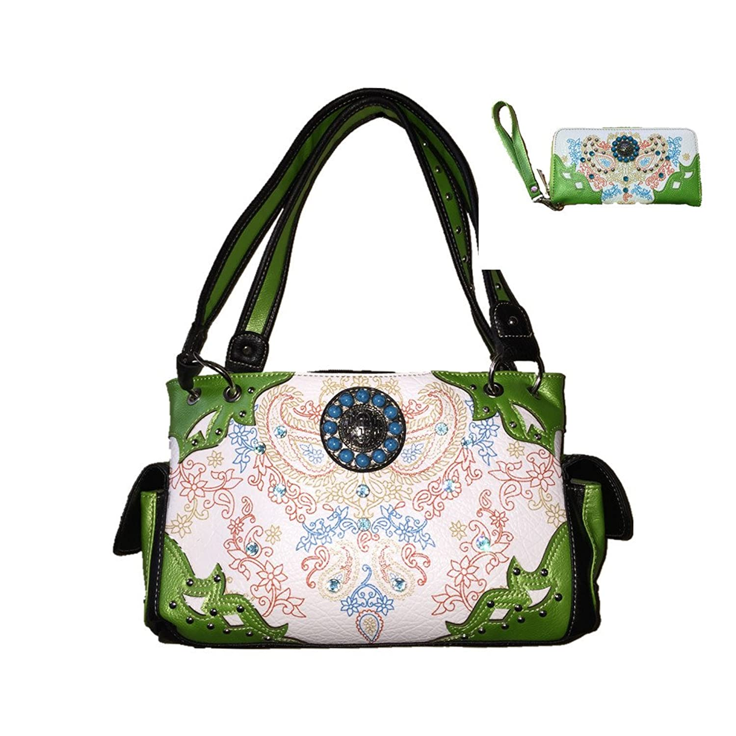 2015 Stylish Rhinestone Concho Floral Concealed Carry Leather Shoulder Handbag Purse and Matching Wallet, One Set in 5 Colors. Black, Blue, Purple, Hot Pink and Light Green