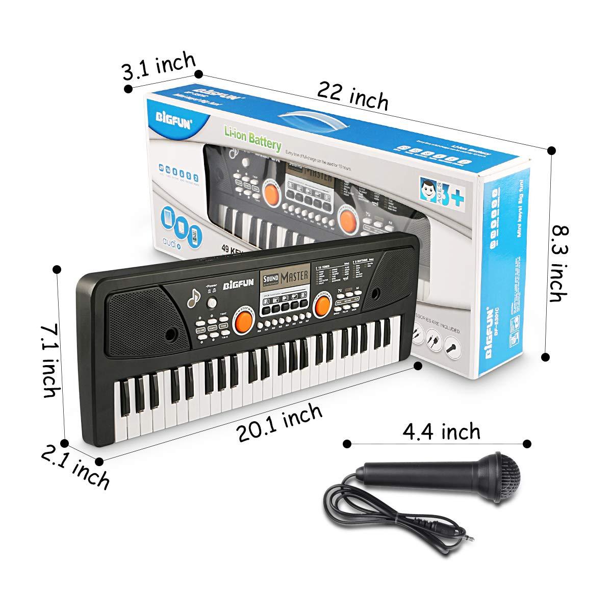 RenFox 49 Key Piano Keyboard Portable Electronic Kids Piano Keyboard Beginner Digital Music Piano Keyboard & Microphone Teaching Toy Gift for Kids Boy Girl by RenFox (Image #6)