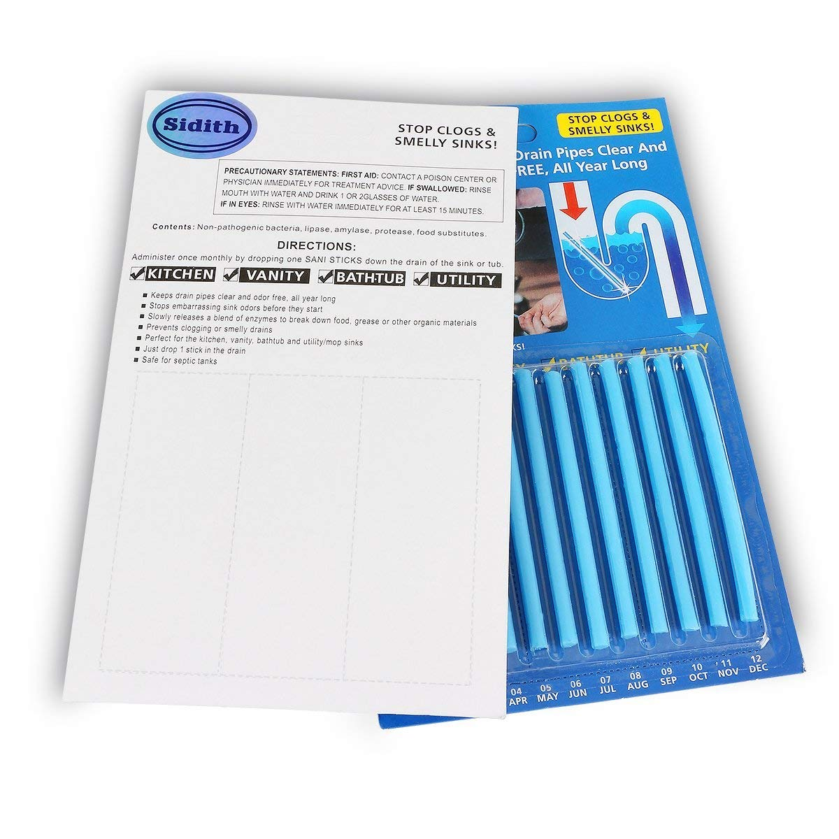 Amazon.com: Sidith Clean Sticks 24 Pcs/2Pack Keeps Drains &Pipes ...