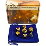 Premium Metal Polyhedral Dice, Set of 7 - Gold, Shiny Finish (Heavy) - Great for D&D and Role Playing (RPG) games