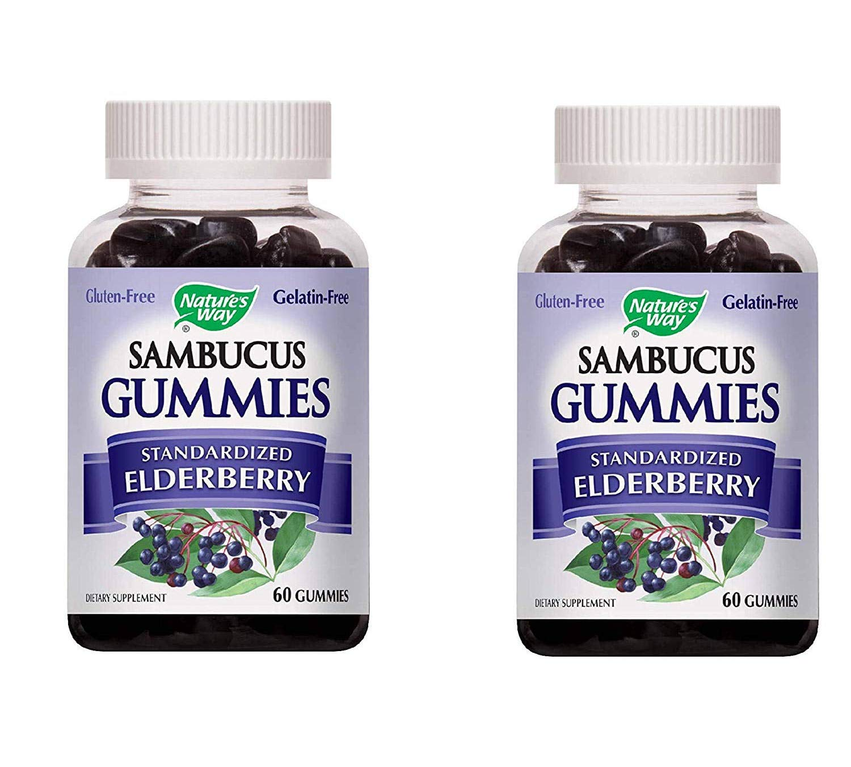 Nature's Way Sambucus Elderberry from European Black Elder for Winter Remedy Immune Support (60 Tasty Gummies) Pack of 2