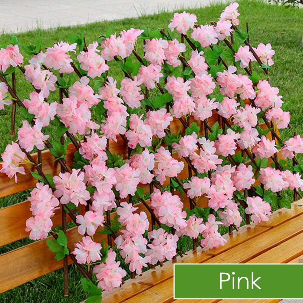 Suitable for Wall Decoration Xploit Extendable Fence Wooden Hedge with Artificial Flower Leaves Garden Decoration Screening Expanding Trellis Privacy Screen Retractable Fence