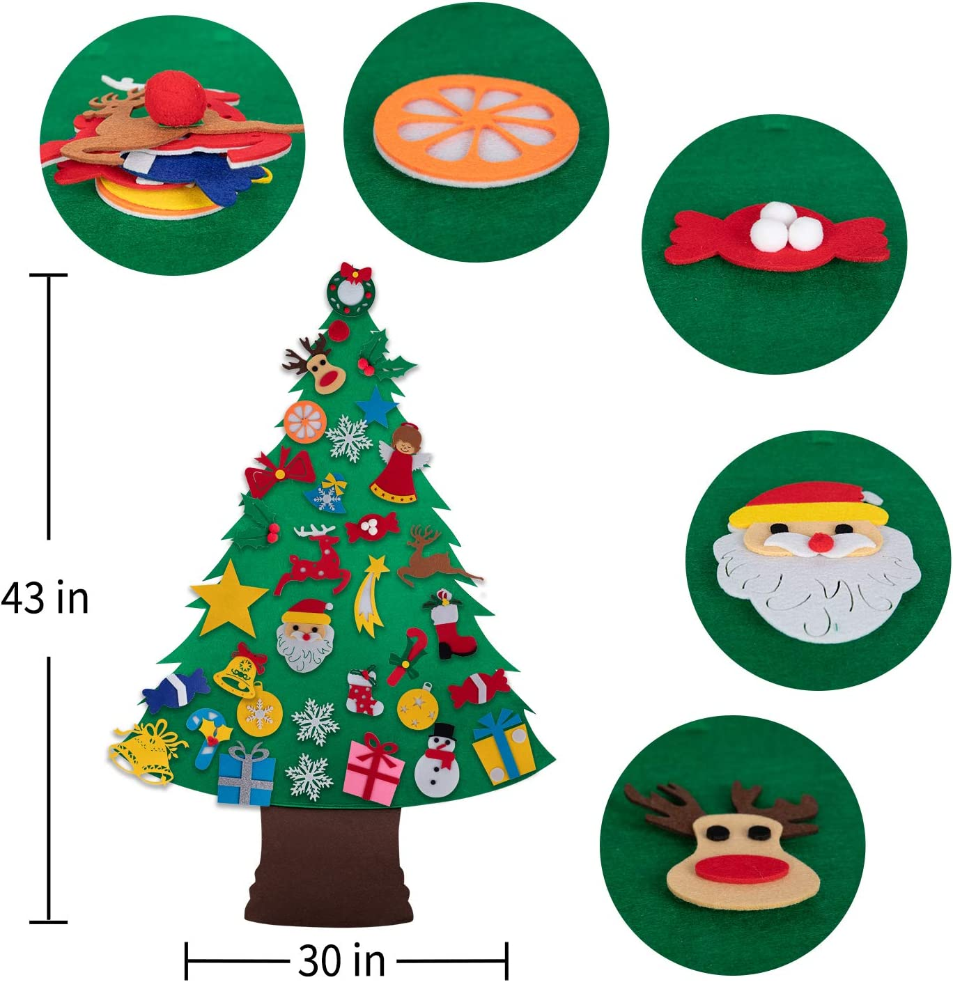 Minetom Felt Christmas Tree for Kids-33 PCS Cute Christmas Ornaments Kit with Hook /& Loop Nativity Set Crafts Gifts for Toddlers DIY Christmas Home Wall Door Classroom Hanging Decorations