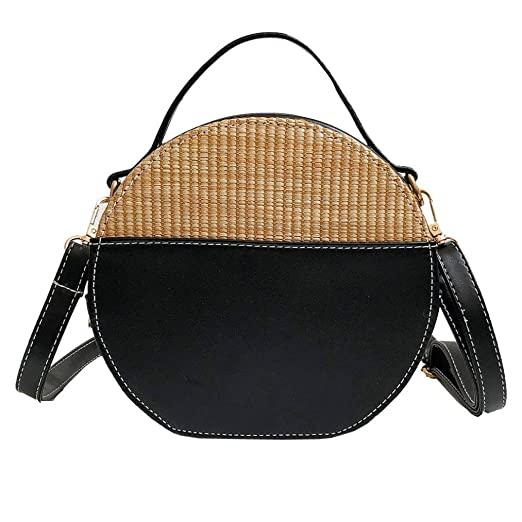 Women s Handbag 2019 Vintage Crossbody Bags Simple Weave Round Tote  Shoulder Bag Black
