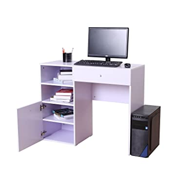 Homcom Bureau Informatique multimédia Multi-rangements Blanc  Amazon ... f1a2aca13f64