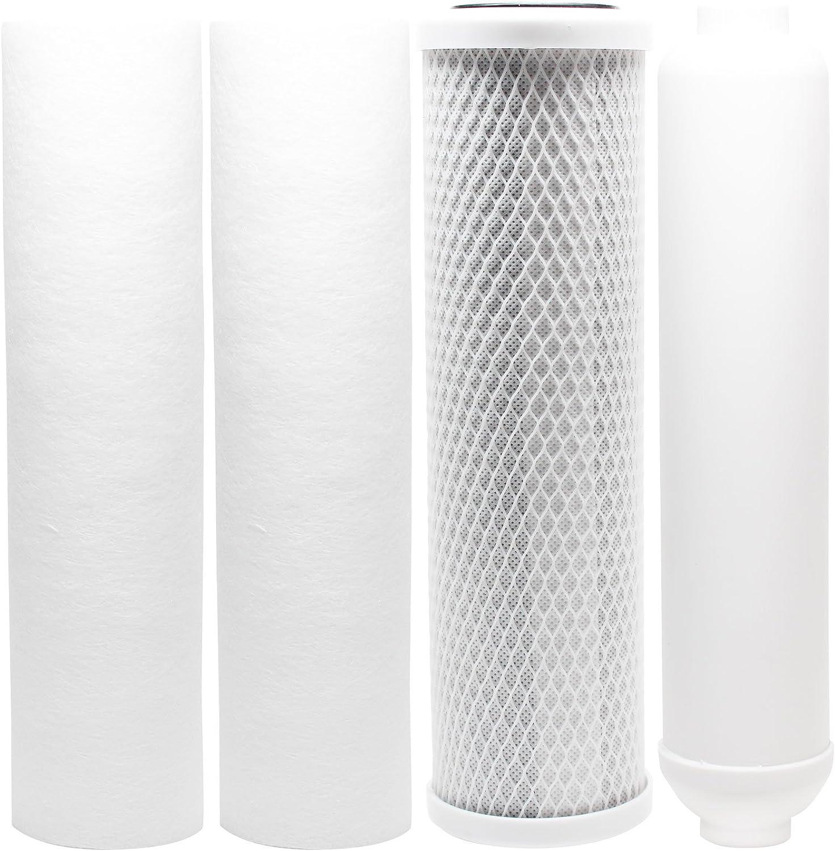 5unidades de repuesto Kit de filtros para PurePro hro-500Ro sistema–incluye filtros, PP sedimentos cartucho de filtro de bloque de carbón cartucho de filtro de Inline–Denali Pure marca