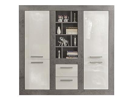 Credenza moderna Sienna, mobile soggiorno grigio e bianco, mobile ...