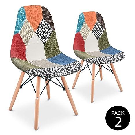 Mc Haus Pack 2 Sillas Comedor Vintage Diseño Tapizado Estilo Patchwork Multicolor, Verde, 42 x 47 x 83 cm