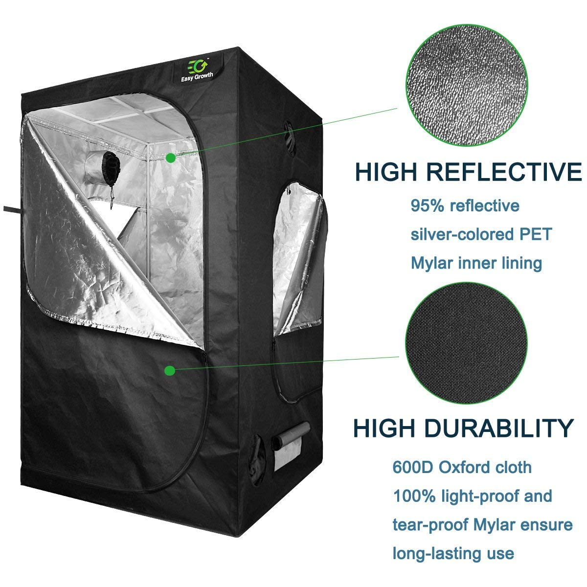EasyGrowth 40''x40''x80'' Reflective Mylar Hydroponic Grow Tent with Observation Window and Waterproof Floor Tray for Indoor Plant Growing by EasyGrowth (Image #6)