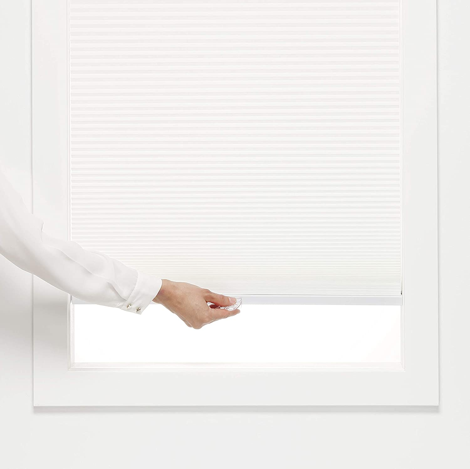 White DEZ Furnishings QCWT390840 Cordless Light Filtering Cellular Shade 39W x 84H Inches