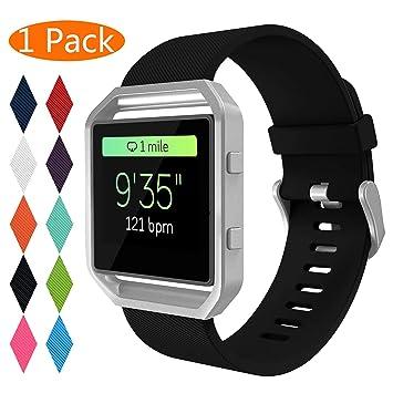 KingAcc Bracelet de rechange en silicone pour montre connectée Fitbit Blaze avec fermoir en métal - Bracelet ...