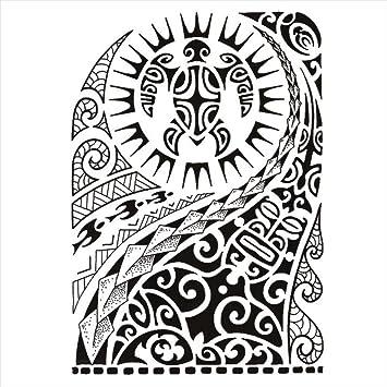 Tatouages Temporaire Maori Tortue Pour Homme Et Femme Tatouage Ephemere Avant Bras Jambe Mollet Bras Nuque 21 X 15 Cm Amazon Fr Beaute Et Parfum