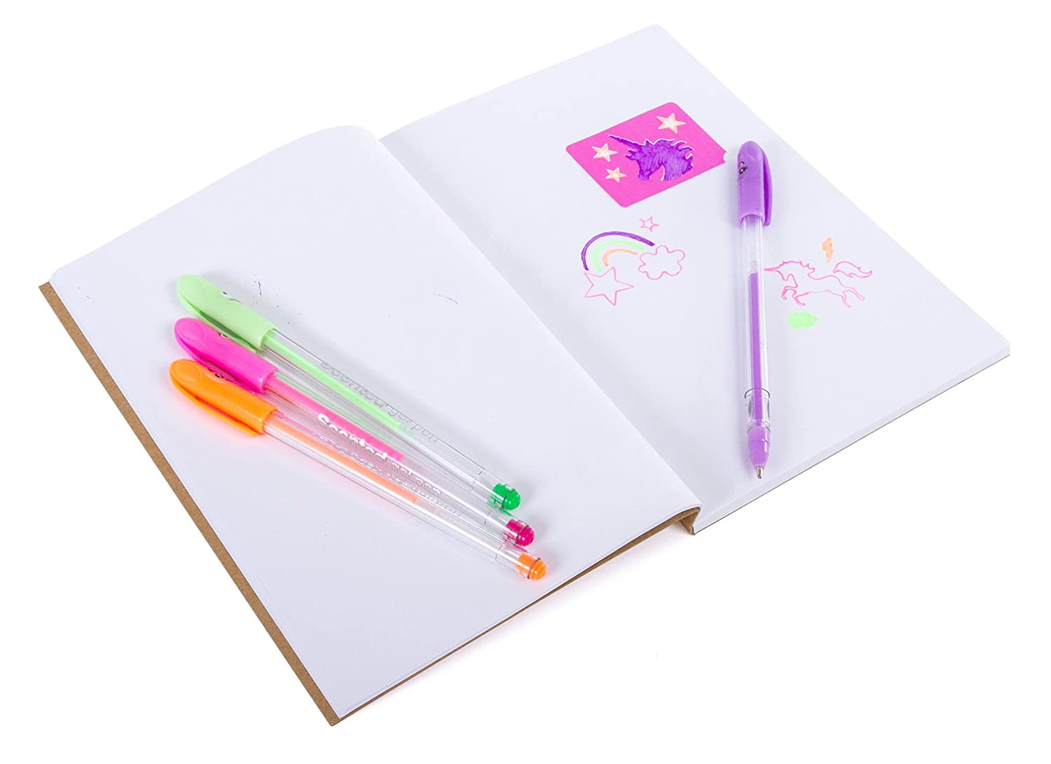 Decorate Your Own Journal Diary with 4 Scented Gel Pens Scratch /'N Sniff Unicorn Stickers and Stencils SG/_B075H3VHNZ/_US Hot Focus DIY Unicorn Notebook Kit
