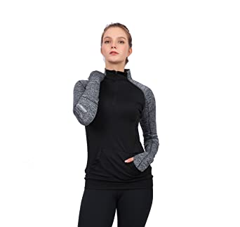 HonourSport Women Yoga Compression Sweatshirts Zipper Long Sleeve Running Shirts