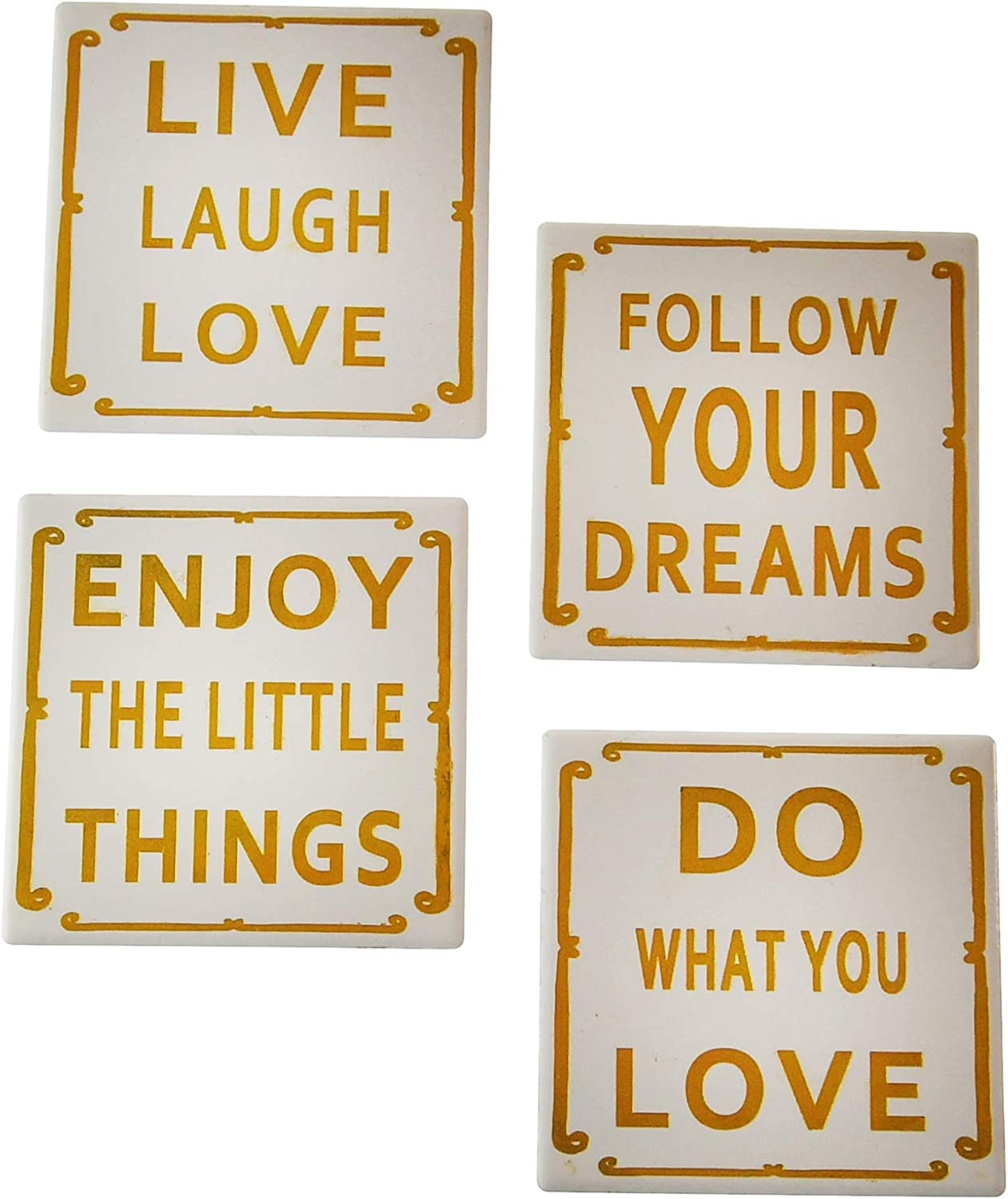 HOME-X Ceramic Drink Coaster Set of 4, Inspirational Table Decor Accessories